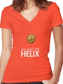 Twitch Plays Pokemon: All Hail The Helix! - Yellow/Orange with White Text Women's Fitted V-Neck T-Shirt