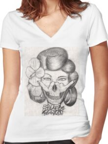 Hula Girl With the Skull Tattoo Women's Fitted V-Neck T-Shirt