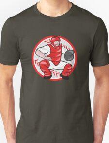 Baseball Catcher Catching Cartoon Unisex T-Shirt