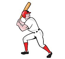 Baseball Player Bat Side Isolated Cartoon by patrimonio