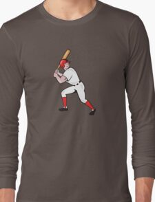 Baseball Player Bat Side Isolated Cartoon Long Sleeve T-Shirt