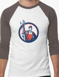 Artist Painter Holding Pencil Paintbrush Retro Men's Baseball ¾ T-Shirt