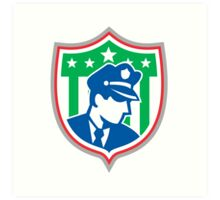 Security Guard Police Officer Shield Art Print