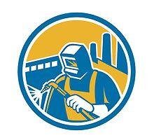 Welder Fabricator Welding Torch Factory Retro by patrimonio
