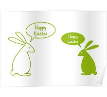Happy Easter card with bunnies Poster
