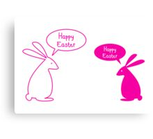 Happy Easter card with bunnies Canvas Print