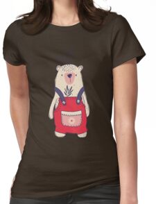 Dungaree Winter Bear Womens Fitted T-Shirt