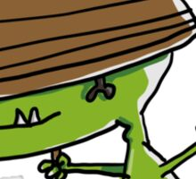 Funny dinosaur with a rowing boat Sticker