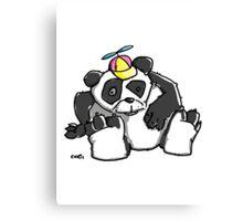 Cute Panda Bear wears a stupid Cap Canvas Print