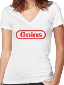 Nintendo Gains Women's Fitted V-Neck T-Shirt