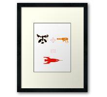 Raccoon + Laser gun = Rocket Framed Print