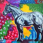 'GREY HORSE (IN AN ABSTRACT LANDSCAPE)' by Jerry Kirk