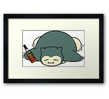 Drunk snorlax with Jack Daniel's Framed Print