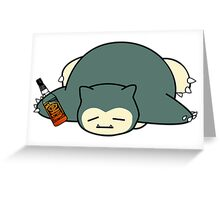 Drunk snorlax with Jack Daniel's Greeting Card