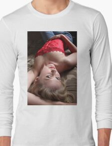 Sexy Blond Lying Long Sleeve T-Shirt