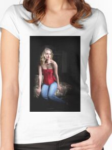 Sexy Blond Sitting Women's Fitted Scoop T-Shirt