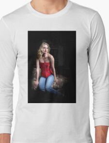Sexy Blond Sitting Long Sleeve T-Shirt