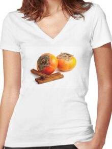 Persimmon Cinnamon Women's Fitted V-Neck T-Shirt