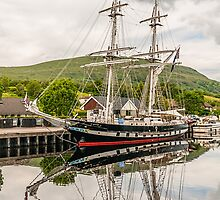Ship, Sail training vessel, TS Royalist, Docked, Neptunes Staircase, Banavie, Scotland by Hugh McKean