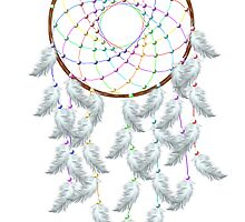 White feathered Rainbow Dream Catcher by MichelleElaine Smith