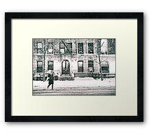 Snow at Night - New York City Framed Print