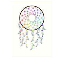 Flower Rainbow Dream Catcher Art Print