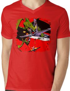 Dino War Mens V-Neck T-Shirt