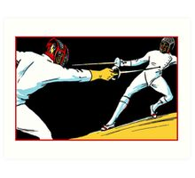 Fencing retro vintage style drawing Art Print