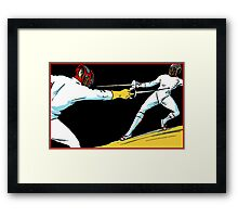 Fencing retro vintage style drawing Framed Print