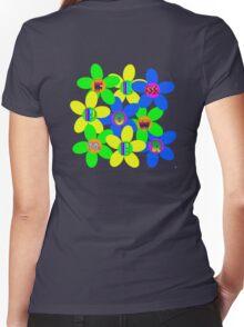Flower Power 60s-70s T (back) Women's Fitted V-Neck T-Shirt
