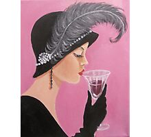 A LADY SIPPING WINE Photographic Print