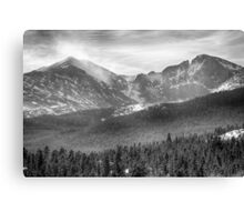 Longs Peak Winter View BW Canvas Print