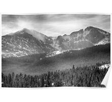 Longs Peak Winter View BW Poster