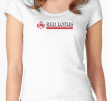 Red Lotus School (White Logo, small) Women's Fitted Scoop T-Shirt