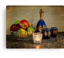 Bowl of Fruit, Some Wine and A Candle Canvas Print