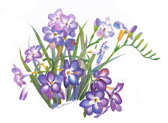 Purple Freesia in Spring by Pat Yager
