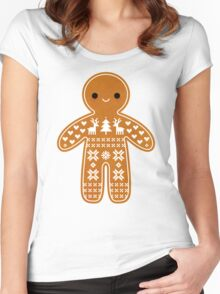 Sweater Pattern Gingerbread Cookie Women's Fitted Scoop T-Shirt