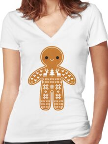 Sweater Pattern Gingerbread Cookie Women's Fitted V-Neck T-Shirt