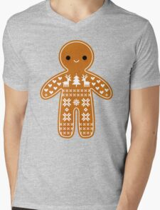 Sweater Pattern Gingerbread Cookie Mens V-Neck T-Shirt