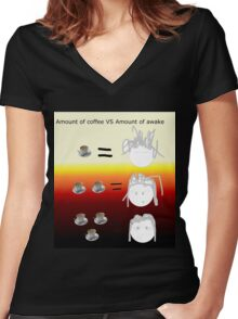 Amount of coffee vs amount of awake Women's Fitted V-Neck T-Shirt