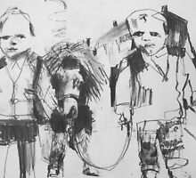 2 boys and their pony in pencil by donnamalone