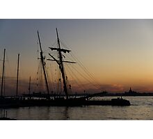 Climbing the Rigging - Sailors Silhouettes at the Hudson River Waterfront, New York City Photographic Print