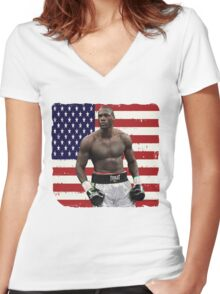 Deontay Wilder American Boxing Heavyweight  Women's Fitted V-Neck T-Shirt