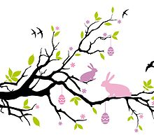 Happy Easter tree with pink bunnies by beakraus