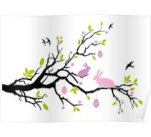 Happy Easter tree with pink bunnies Poster