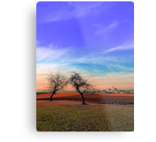 Trees, sunset, clouds, panorama and village | landscape photography Metal Print