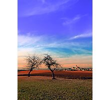 Trees, sunset, clouds, panorama and village | landscape photography Photographic Print