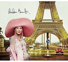Eiffel Tower and Carla Bruni Photographic Print