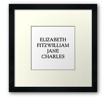 Main Characters from Pride and Prejudice  Framed Print