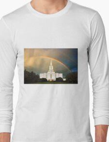 Jordan River Temple Under the Rainbow 30x20 Long Sleeve T-Shirt